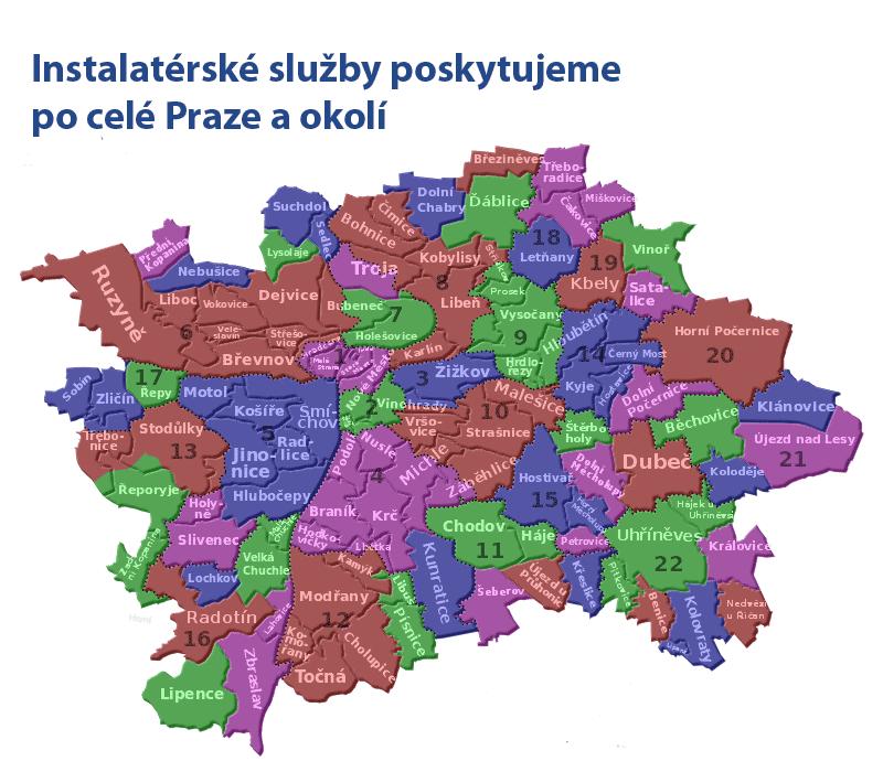 Instalatérské služby poskytujeme v celé Praze a okolí